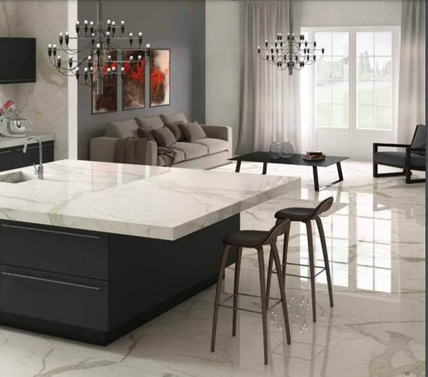 Calacatta Porcelain countertops and floors